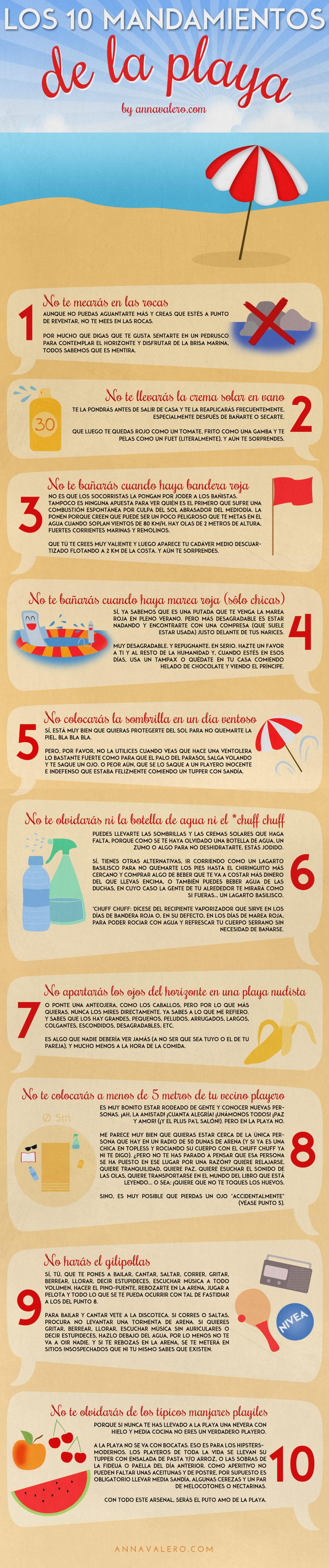 """Infografía """"Los 10 Mandamientos de la Playa"""""""